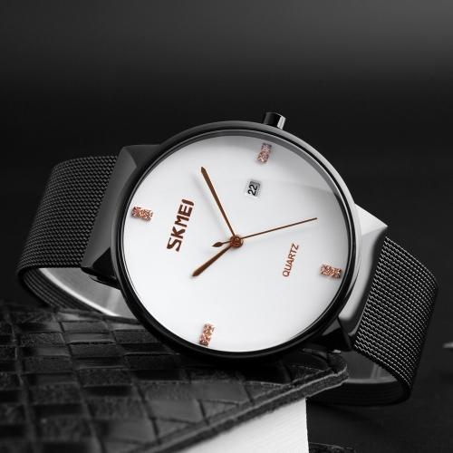 SKMEI Модные повседневные кварцевые часы 3ATM Водонепроницаемые мужские наручные часы из нержавеющей стали Наручные часы Male Calenda фото