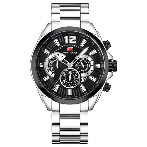 MINI FOCUS Reloj deportivo de acero inoxidable para hombre Fashion 3ATM Reloj luminoso de cuarzo resistente al agua Hombre Cronógrafo Relogio Musculino