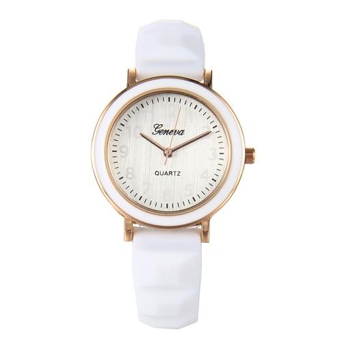 Quartzo relógio mulheres silicone pulseira relógio de pulso casual feminino relógio