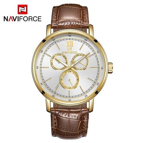 Il quarzo di marca dell'orologio di cuoio di NIF3002 di NAVIFORCE guarda la finestra di giorno casuale luminosa di affari della data di ora