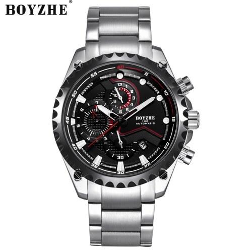 BOYZHE WL022-G腕時計ブランド発光防水ビジネスフルオートマチックメカニカルメンズステンレススチール腕時計付きギフトボックス
