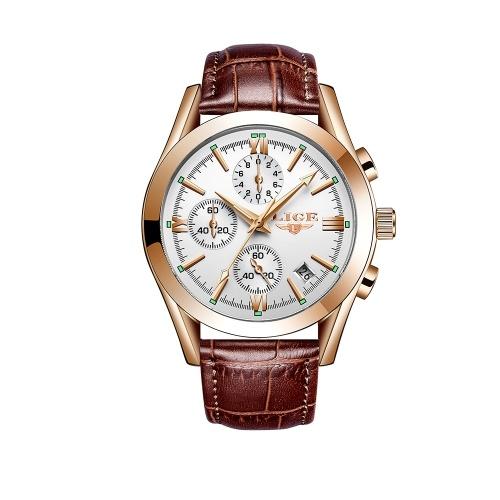 Orologio da polso LIGE 9839 al quarzo con orologio da polso semplice da uomo