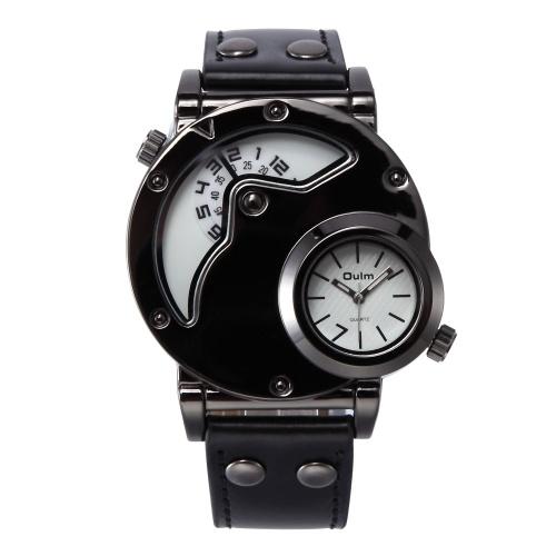 Oulm Montre Deux fuseaux horaires Homme Montres à quartz Marque Bracelet de cuir de luxe Bracelet de sport avec deux mouvements Horloge masculine Relogio Masculino (Blanc)