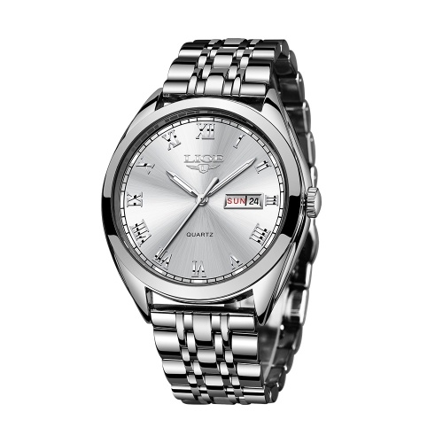 LIGE 9904 Quartz Watch Men Top Brand Fashion Chronograph Male Stainless Steel Waterproof Business Men Wristwatch Relogio Masculino