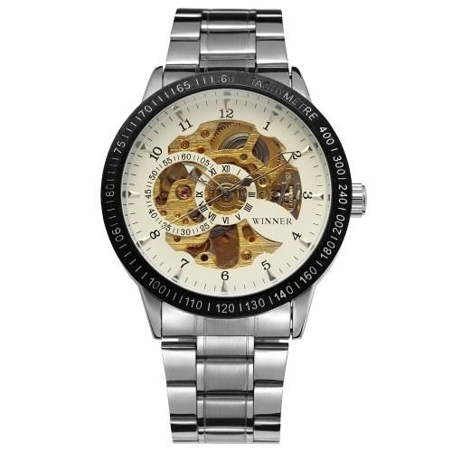 Vincitore 8085 uomini moda automatica orologio da polso meccanico di affari Moda lusso orologio militare uomo scheletro quadrante acciaio inossidabile / cinghia da uomo opzionale orologio da uomo con scatola regalo
