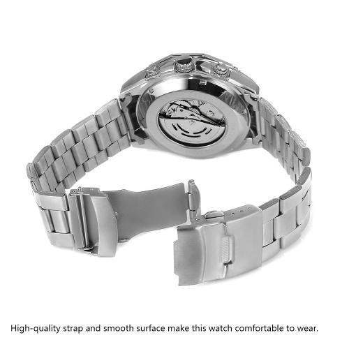 Forsining A1030 Лучший Бренд Автоматические Механические Бизнес Мужские Часы Скелет Роскошные Часы Luxury Fashion Military Часы Из Нержавеющей Стали с Подарочной Коробке фото