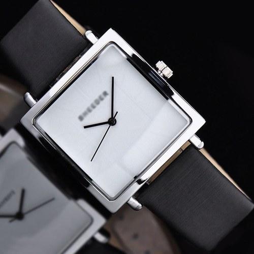 Femme exquise montre à quartz rétro simple montre-bracelet analogique carré Lady PU montres en cuir