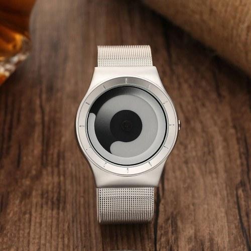 Image of Persönlichkeit Vortex Konzept Uhr Ohne Zeiger Strass Moderne Armbanduhr Trend Sport Schwarz Armbanduhr Paar Uhren für Männer Frauen (Weiß)