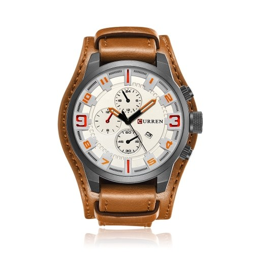 CURREN 8225 Quartz Fashion Watch Man Watch Top Brand Calendar Leather Strap Business Military Dual Display 30M Waterproof Wrist Watch Relogio Masculino
