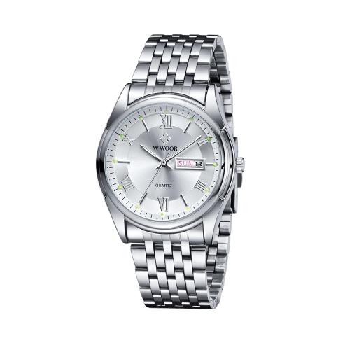 WWOOR Moda Casual Analógico Quartz Watch Business Relógios De Aço Inoxidável À Prova D 'Água Homens Calendário Relógio De Pulso