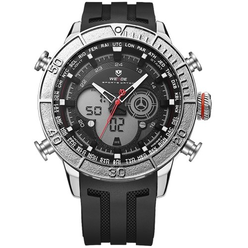 WEIDE WH6308 Orologio da uomo digitale al quarzo a due movimenti con doppio display