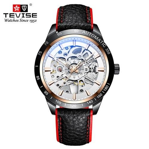 TEVISE Men Watch Orologio meccanico automatico Orologio da polso 30M Cinturino in pelle con puntatore luminoso impermeabile