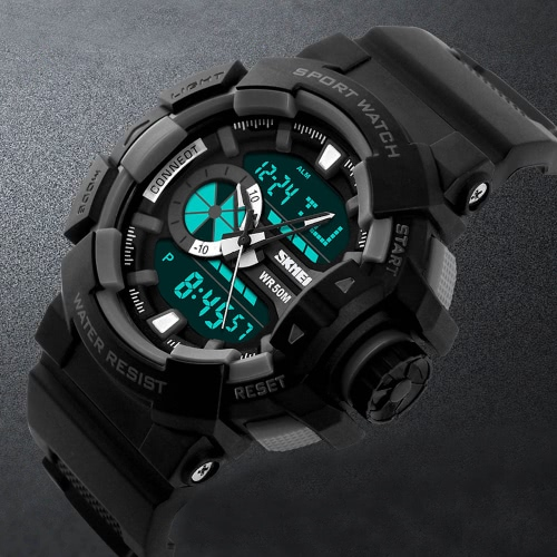 Orologi di moda di marca SKMEI escursionismo sportivo orologio elettronico per scolaro PU cuoio orologio 50M impermeabile al quarzo movimento digitale Dual Time Display orologio da polso uomo