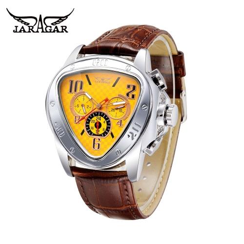 JARAGAR moda Cool triángulo caso hombres automático reloj mecánico lujo cuero correa hombre Casual reloj de pulsera con Sub-diales fecha/semana/24 horas