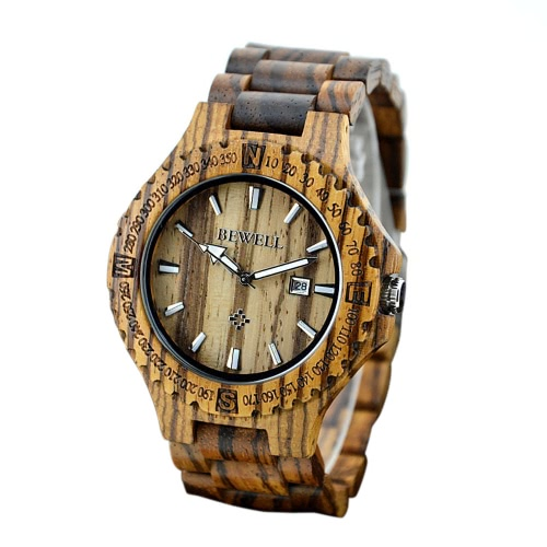 BEWELL высокое качество легкий уникальной древесины простых световой наручные часы Модные кварцевые часы с дерева зебрано календарь