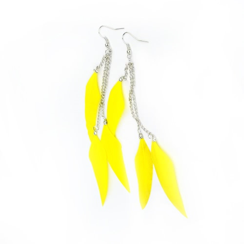 Moda mujeres chica largo pluma lámpara pendiente cadena cuelgan gotas fiesta joyas accesorios regalo