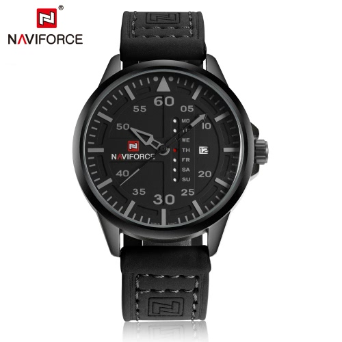 NAVIFORCE Hombre elegante reloj de manera resistente al agua 3 ATM de alta calidad de cuarzo analógico reloj de pulsera con la semana de la fecha de visualización