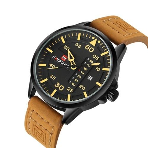 NAVIFORCE Chic Fashion Man Watch 3ATM resistente à água de alta qualidade analógico relógio de quartzo