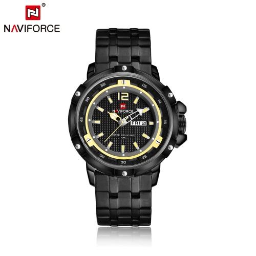 NAVIFORCE 2016 30M de moda de lujo de cuarzo Hombre resistente al agua acero inoxidable del reloj ocasional del reloj del negocio para los hombres Reloj de pulsera analógico con caja de almacenamiento