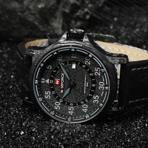 NAVIFORCE Quartz Man Watch High-quality PU Leather Strap