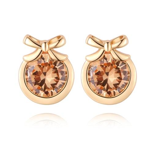 Encanto de la manera del Zircon del Rhinestone cristalino de oro chapado de metal de cobre del oído del perno prisionero de la joyería de la Mujer