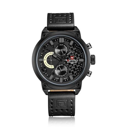 NAVIFORCE Marca de lujo del cuero genuino de los hombres del cuarzo reloj de la manera ocasional prueba de agua-deportes de los hombres del reloj Militar Masculino Relógio