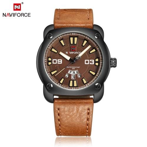 NAVIFORCE hombre de la manera ocasional se divierte el reloj del reloj 3ATM resistente al agua cuero de la PU de la correa del hombre del reloj del cuarzo con función de calendario