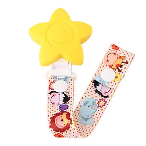 en forma de flor de silicona libre de BPA Chupete Clips Holder Mordedor cadena de patrones Chupete dentición de la cinta de dibujos animados de animales de collar de regalo de la ducha del bebé Juguetes