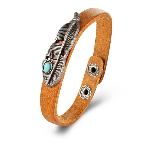Modische Weinlese-natürliche Türkis-Leder-Legierungs-Stulpe-Armband-Armband-Schmucksache-Geschenke für Frauen-Männer