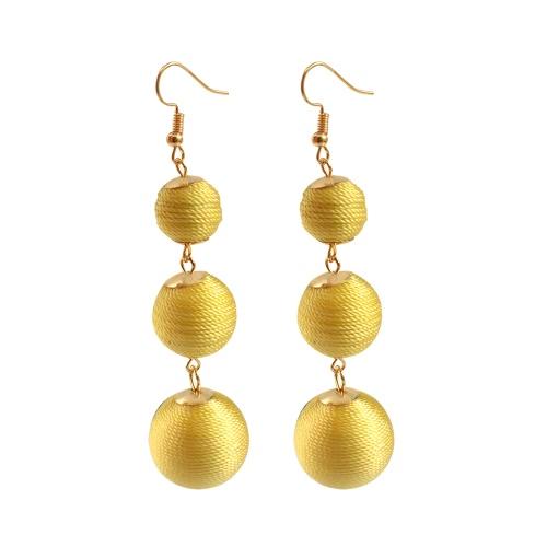 Moda popular bohemia clásica alambre bolas onduladas línea pendientes de gota de la oreja para el regalo de la joyería del recorrido de las mujeres