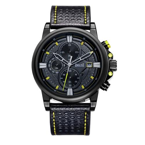 Bolisi moda casual reloj de cuarzo 3ATM hombres resistente al agua Relojes reloj de pulsera de cuero genuino calendario cronómetro