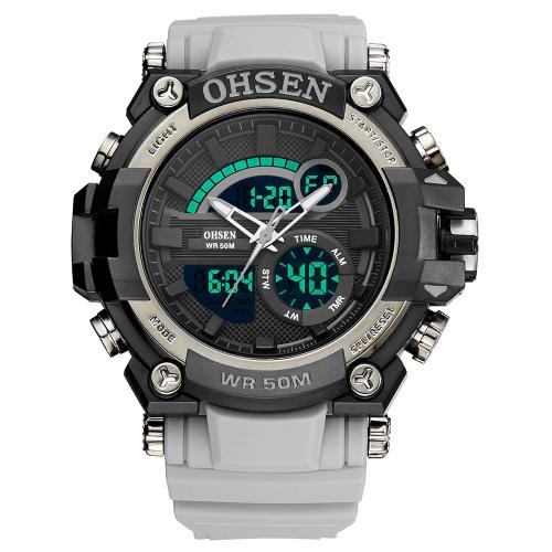 OHSEN Dual Display reloj de cuarzo digital para hombre 5ATM reloj deportivo a prueba de agua reloj de cronógrafo / contraluz / alarma Masculino Relogio