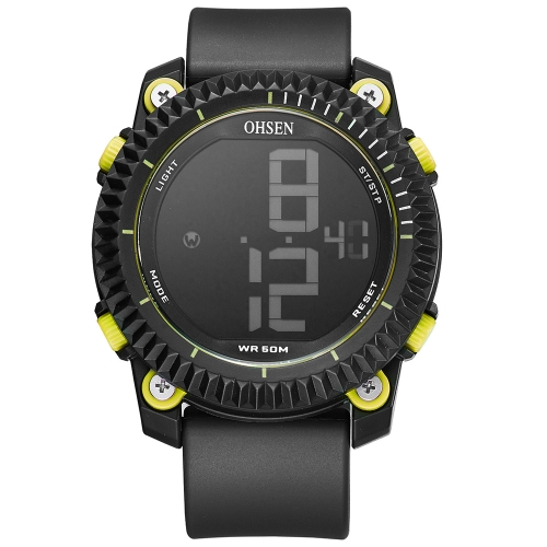OHSEN Luxury 5ATM Water-Proof Digital Men Sports Watch Rubber Band Dial Grande Reloj de pulsera Casual Al Aire Libre Alarma / Calendario / Cronómetro