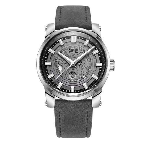 OUBAOER moda deporte cuero genuino hombres relojes cuarzo 3ATM resistente al agua casual hombre luminoso reloj de pulsera calendario