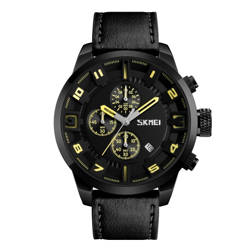 SKMEI Fashion Casual Quartz Watch 3ATM Relógios impermeáveis para homens Relógios de pulso Calenda Chronight Masculino
