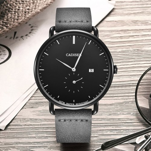 CADISEN C2037 Watch Men Sport Chronograph PU Leather Strap Quartz Movement Watch