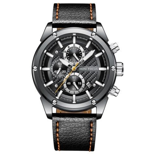 MINI FOCUS MF0161G Quartz Watch Business Men Simple Sport Wristwatch Three Sub-Dials Calendar Second Minute Display Timer 3ATM Waterproof Fashion Casual Luminous Hands Male Watches Relogio Masculino