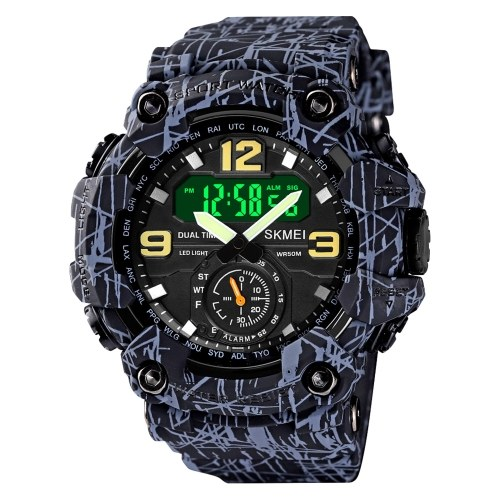 Men's Digital Sport Watch SKMEI Classic 5ATM Waterproof Sport Watch with Alarm Stopwatch LED Backlight Dual Display Electronic Analog Wrist Watch 12/ 24 Format