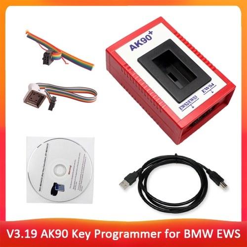 Herramienta de programador de llave automática AK90 + V3.19 profesional Herramienta de diagnóstico de coincidencia para BMW EWS AK90 con kit de programación de llave de cable Llaves de identificación