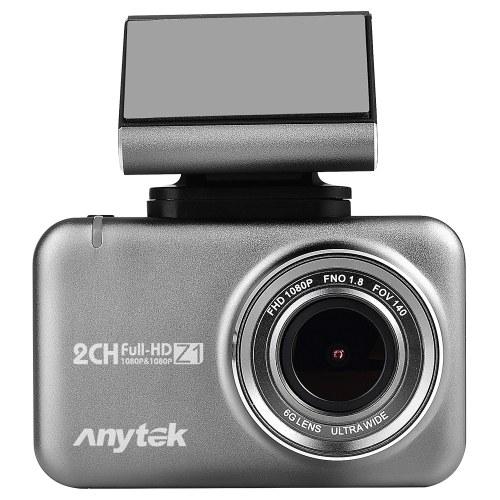 Anytek 1080P Coche DVR Cámara 2.35in IPS Pantalla táctil Dual Dash Cam WiFi WDR GPS 170 ° Gran angular Video Driving Recorder Parking Monitor