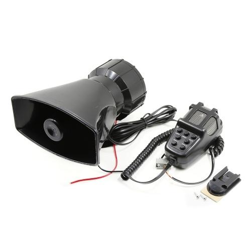 Car Megaphone 5 Tone Alarm Horn 12V 110dB Loud Speaker Fire Alarm Ambulance Blaring Police Siren