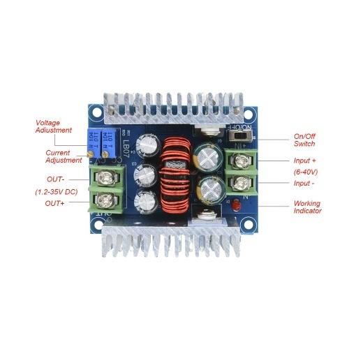 300 Вт 20А постоянного тока понижающий преобразователь понижающий модуль постоянного тока 6-40 В постоянного тока 1,2-36 В регулируемое напряжение постоянного тока модуля электролитического конденсатора K15500