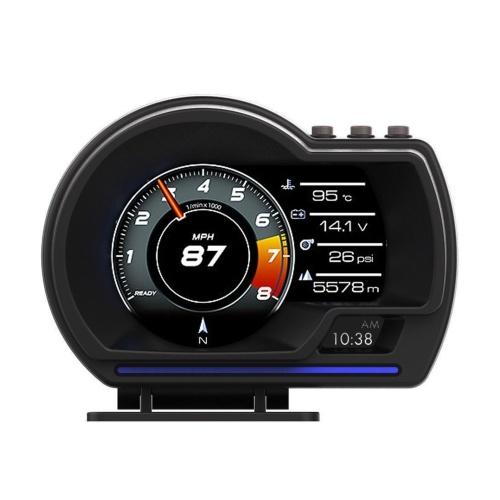Pantalla HUD para automóvil, OBDⅡ + GPS Smart Gauge Velocímetro de alta definición Herramienta de diagnóstico del automóvil Eliminación de código de falla OBD Conducción segura Computadora por exceso de velocidad Alarma de falla para todos los vehículos