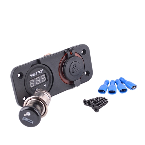 Moto coche mechero Socket enchufe Plus voltímetro Digital Set tapa Panel de montaje
