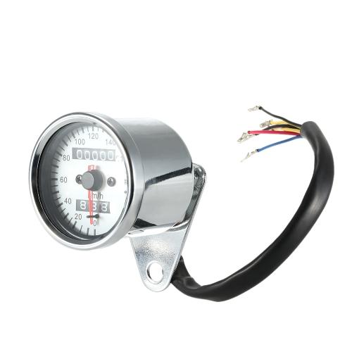 Universal Motorcycle Dual Odometer Km/h Speedometer Gauge LED Backlight Signal Light