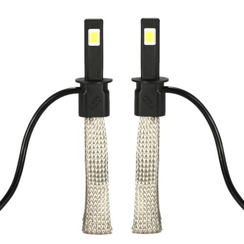 KKmoon 1 Pair of 30W 3200LM H1 COB Chip LED Headlight Fog Light 12V 24V Car Upgrade Replacement Bulb Beam Kit 6000K White