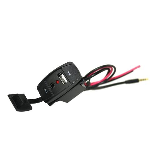 12-24V Car Boat Dash Flush Mount USB 3.5mm painel de extensão de cabo de extensão AUX