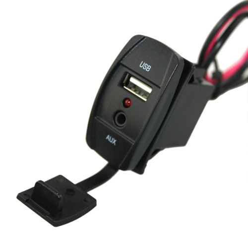 12-24V Car Boat Dash Flush Mount USB 3.5mm AUX Extension Cable Mounting Panel