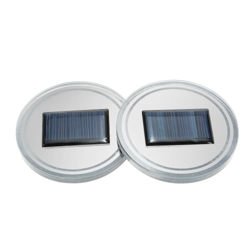 2pcs Universal Solar Cup Holder Bottom Pad LED Light Cover Trim Atmosphere Lamp