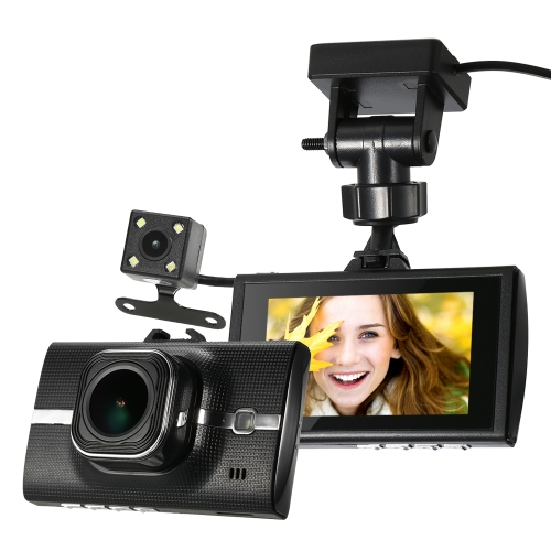3-дюймовый Двойной объектив 1080P Автомобильный видеорегистратор Dash Cam Автомобильная камера с дистанционным предупреждением